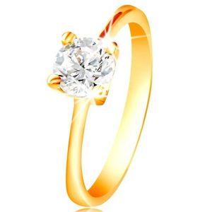 Inel din aur de 14K - zirconiu transparent în montură - Marime inel: 48 imagine