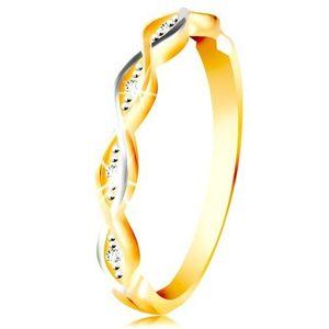 Inel din aur galben și alb de 14K - valuri împletite cu zirconii - Marime inel: 49 imagine