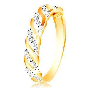 Inel din aur 585 - linii netede și zirconii - Marime inel: 49 imagine