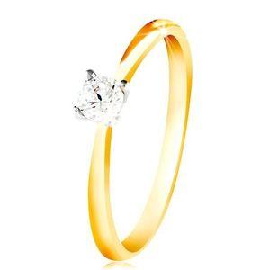 Inel din aur de 14K - brațe subțiri, zirconiu transparent în mijloc - Marime inel: 48 imagine