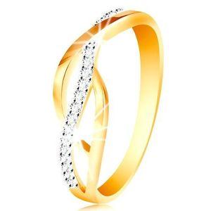 Inel din aur de 14K - linii împletite, cu zirconii - Marime inel: 49 imagine