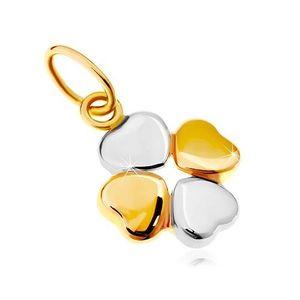 Pandantiv din aur 14K - trifoi cu patru foi, în două culori imagine