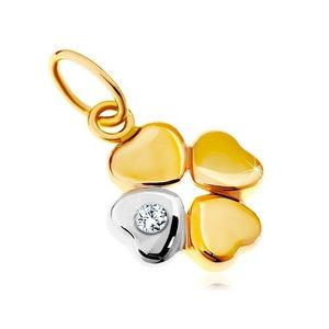 Pandantiv din aur 14K - trifoi cu patru foi în două culori, zirconiu transparent imagine