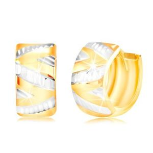 Cercei din aur de 14K - suprafață strălucitoare cu linie zig-zag din aur alb imagine