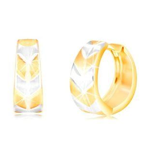 """Cercei rotunzi din aur de 14K - cerc cu model """"V"""" mat în două culori imagine"""