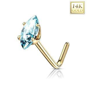 Piercing curbat din aur de 14K - zirconiu albastru deschis, aur galben imagine