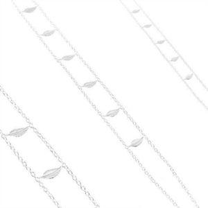 Colier din argint 925, lanț dublu, frunze strălucitoare gravate imagine