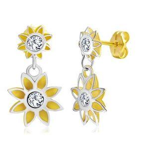 Cercei din aur de 14K - două flori bicolore imagine