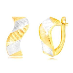 Cercei din aur 585 - val strălucitor cu crestături și benzi în două culori imagine