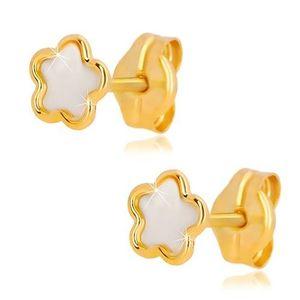 Cercei din aur galben de 14K - floare cu perle naturale, închidere de tip fluturaș imagine