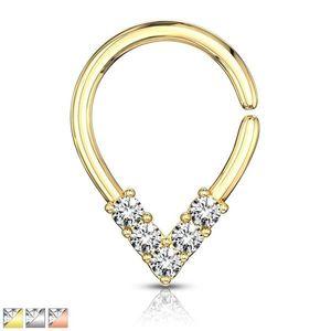 Piercing pentru nas sau ureche - zirconii în formă de litera V, cerc cu suprafață lucioasă - Diametru piercing: 1 mm, Culoare Piercing: Argintiu imagine