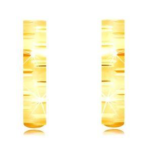 Cercei din aur galben 585 - cercuri subțiri mate decorate cu tăieturi lucioase imagine