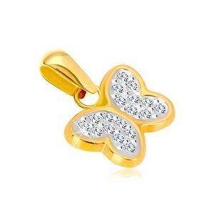 Pandantiv din aur 585 - fluture strălucitor cu zirconii imagine