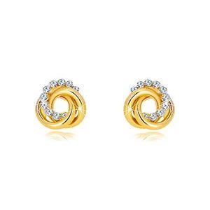Cercei din aur galben - două cercuri și cerc de zirconii, închidere de tip fluturaș imagine