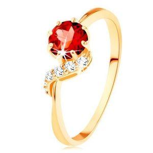 Inel din aur 375 - garnet rotund de culoare roşie, linie ondulată strălucitoare - Marime inel: 57 imagine