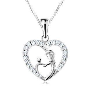 Colier realizat din argint 925, lanț și pandantiv - mama cu copilul în contur de inimă imagine