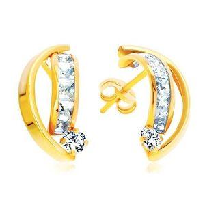 Cercei din aur galben de 14K - două arcuri strălucitoare, zirconii transparente imagine