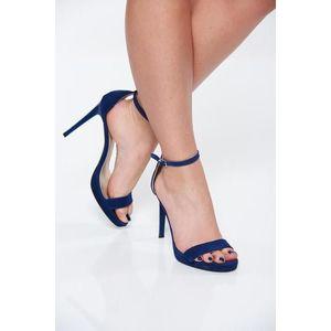 Sandale albastre elegante din piele naturala cu toc inalt de 11 cm imagine