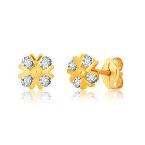 Bijuterii eshop - Cercei din aur galben 375 - floare din zirconii cu vinii V strălucitoare GG40.28 imagine