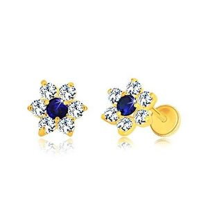 Cercei din aur 585 - floare din zirconii, zirconiu albastru-safir în centru, închidere de tip fluturaș imagine