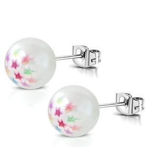 Cercei din oțel - perlă sintetică de culoare albă, stele colorate imagine