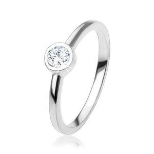 Inel de logodnă cu zirconiu rotund strălucitor transparent, argint 925 - Marime inel: 49 imagine