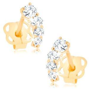 Bijuterii eshop - Cercei aur 585 - linie arcuită mică strălucitoare cu zirconii rotunde transparente GG104.01 imagine