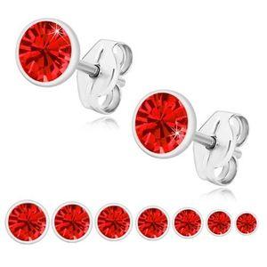 Bijuterii eshop - Cercei din argint 925, zirconiu strălucitor roșu, montură rotundă U29.09 - Dimensiune stras: 2 mm imagine