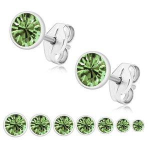 Bijuterii eshop - Cercei din argint 925, zirconiu strălucitor verde deschis, montură rotundă U29.17 - Dimensiune stras: 2 mm imagine