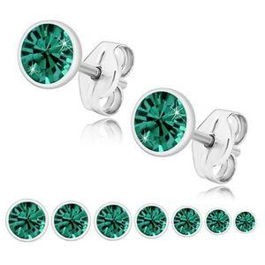Bijuterii eshop - Cercei din argint 925, zirconiu strălucitor verde smarald, montură rotundă U29.19 - Dimensiune stras: 2 mm imagine