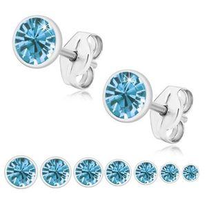 Bijuterii eshop - Cercei din argint 925, zirconiu strălucitor albastru, montură rotundă U29.11 - Dimensiune stras: 2 mm imagine