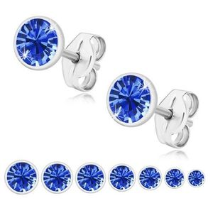 Bijuterii eshop - Cercei din argint 925, zirconiu strălucitor albastru safir, montură rotundă U29.08 - Dimensiune stras: 2 mm imagine