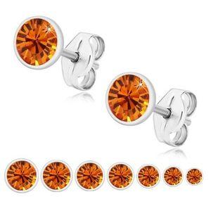 Bijuterii eshop - Cercei din argint 925, zirconiu strălucitor portocaliu, montură rotundă U29.07 - Dimensiune stras: 2 mm imagine
