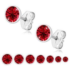 Bijuterii eshop - Cercei din argint 925 - zirconiu roșu rubin, suport strălucitor U29.14 - Dimensiune stras: 2 mm imagine