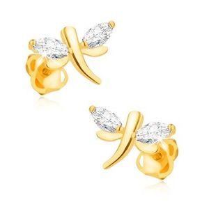 Bijuterii eshop - Cercei din aur galben 14K - libelule strălucitoare, zirconii boabe în aripi GG92.12 imagine