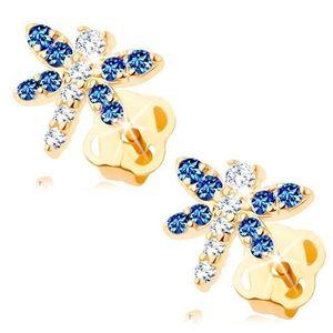 Bijuterii eshop - Cercei, aur galben 14K - fluture strălucitor format din zirconii transparente și albastre GG107.14 imagine