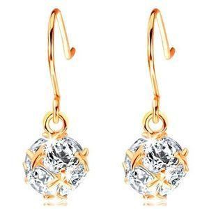 Bijuterii eshop - Cercei din aur 585 - bilă strălucitoare formată din zirconii transparente unite GG105.03 imagine