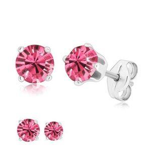 Cercei din argint 925 - zirconiu rotund de culoare roz prins cu patru cleștișori - Dimensiune stras: 4 mm imagine