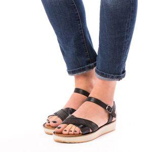 Sandale Dama Cu Bareta Rhinestones Negru imagine