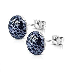 Cercei din oțel inoxidabil - sclipici, culoare albastră, închidere de tip fluturaș imagine