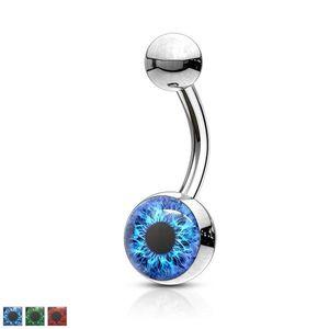 Piercing pentru buric din oțel inoxidabil - iris colorat, pupilă rotundă - Culoare Piercing: Albastru imagine