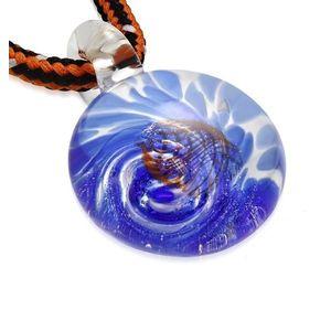 Colier din cordon - sticlă colorată cu spirală de culoare albastră, valuri portocalii imagine