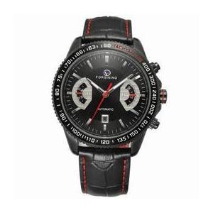 Ceas barbatesc Forsining model sport curea din piele neagra mecanism automatic calendar complet + cutie cadou imagine