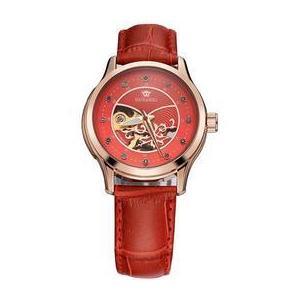 Ceas de dama Ouyawei mecanism automatic curea din piele de culoare rosie rezistent la apa 3ATM(30m) stil Fashion imagine