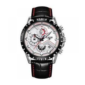 Ceas barbatesc Lige mecanism Quartz curea din piele neagra rezistent la apa 3ATM(30m) calendar chronograph stil Sport imagine