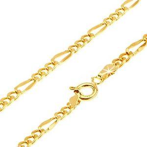 Lanț aur galben 14K - trei ochiuri ovale, o za mai lungă plată, 500 mm imagine