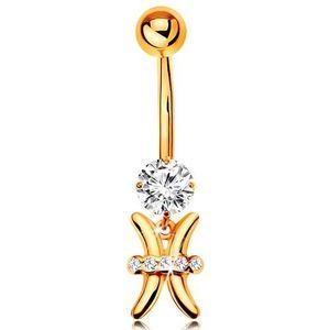 Piercing pentru buric din aur galben 14K - zirconiu transparent, semn zodiacal - PEȘTI imagine