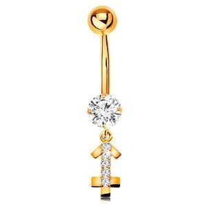 Piercing pentru buric din aur 14K - zirconiu transparent, semn zodiacal strălucitor - SĂGETĂTOR imagine