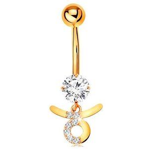 Piercing pentru buric din aur galben 14K - zirconiu transparent, semn zodiacal - TAUR imagine