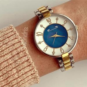 Ceas dama auriu cu argintiu minimalist cu bratara metalica si cadran alb cu albastru superb imagine